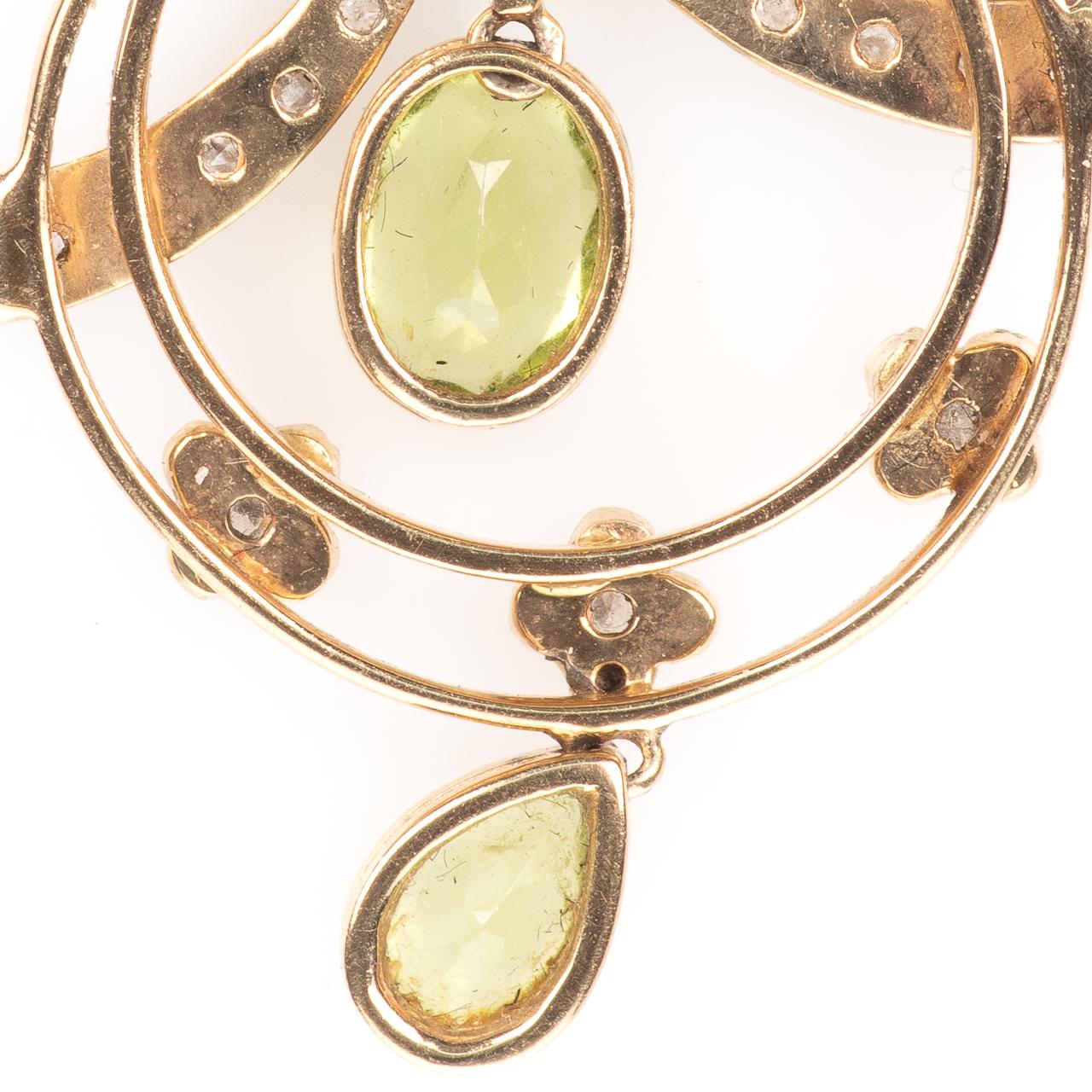 9ct Gold Art Nouveau Peridot & Diamond Pendant - Image 5 of 6