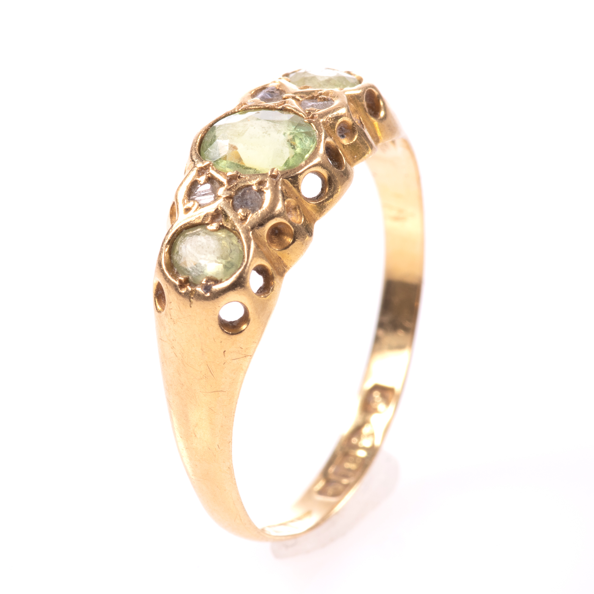 18ct Gold 0.90ct Peridot & Diamond Ring Chester 1918