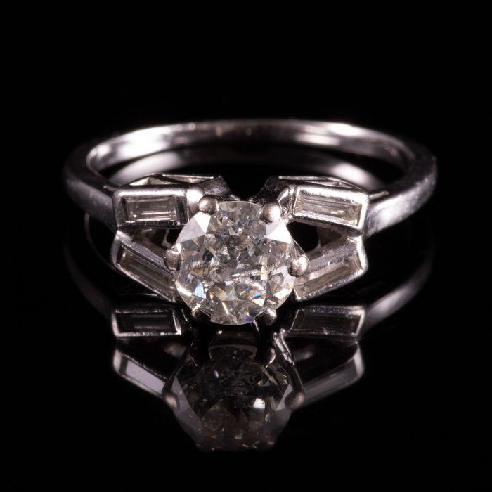 Art Deco Platinum 1ct Diamond Ring