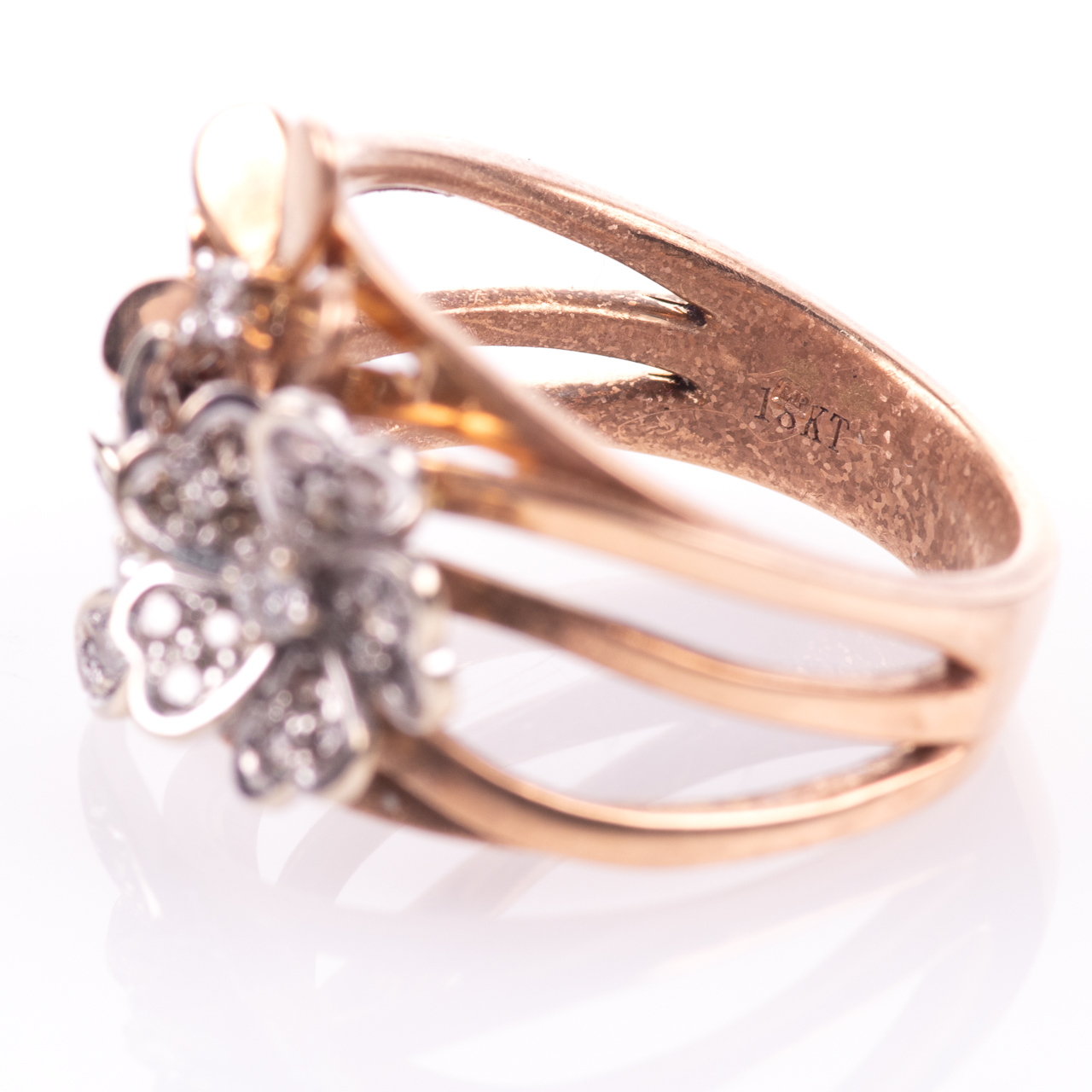 18ct Pink Gold Floral 0.25ct Diamond Ring - Image 5 of 7