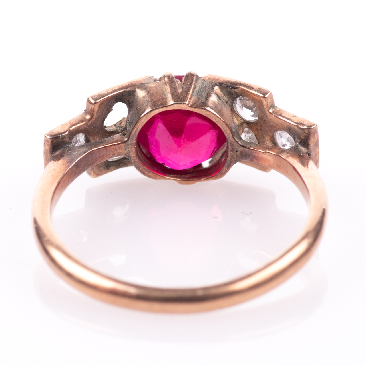 Art Deco Ruby & Paste Ring - Image 5 of 6