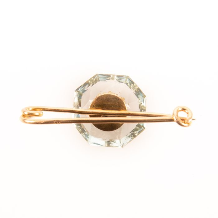 18K Gold Faceted Aquamarine & Ruby Art Deco Brooch - Image 4 of 6