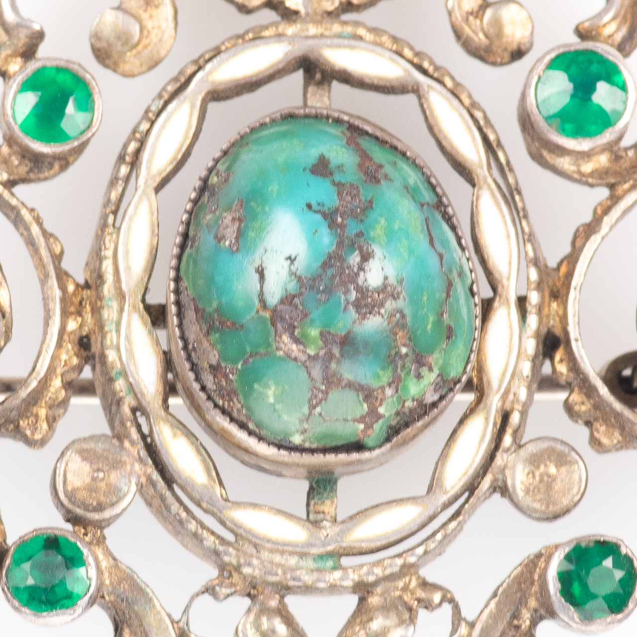 Austro-Hungarian 935 Silver Emerald, Amethyst & Turquoise Brooch - Image 3 of 6