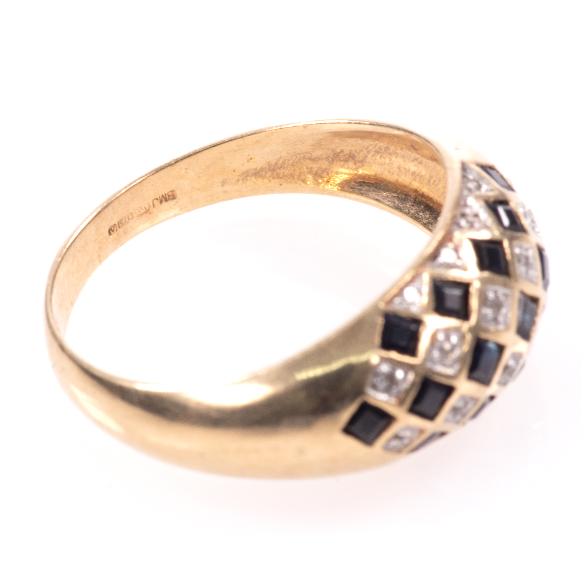 9ct Gold Art Deco Style 0.68ct Sapphire & Diamond Ring - Image 7 of 8