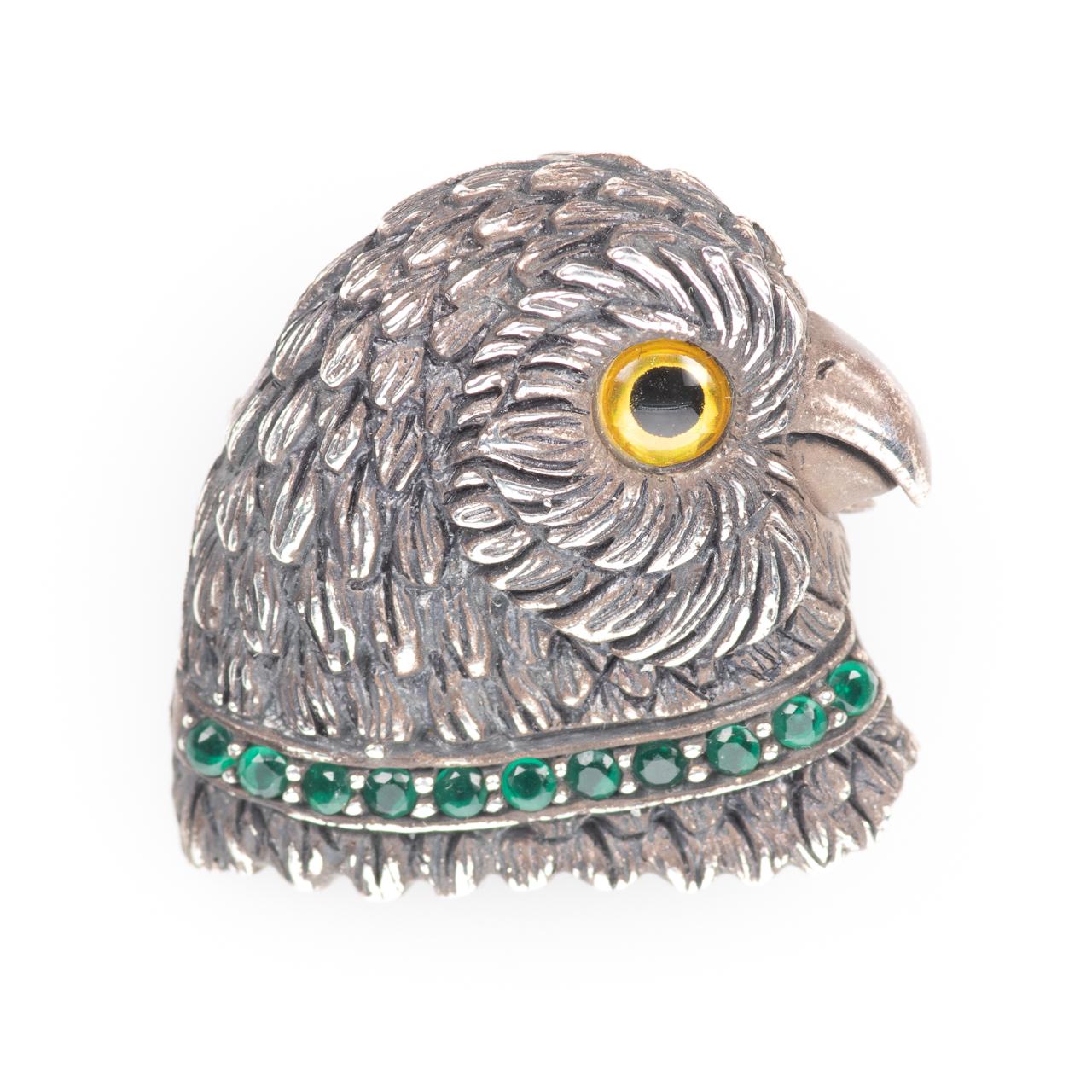 Silver Emerald Parrot Brooch