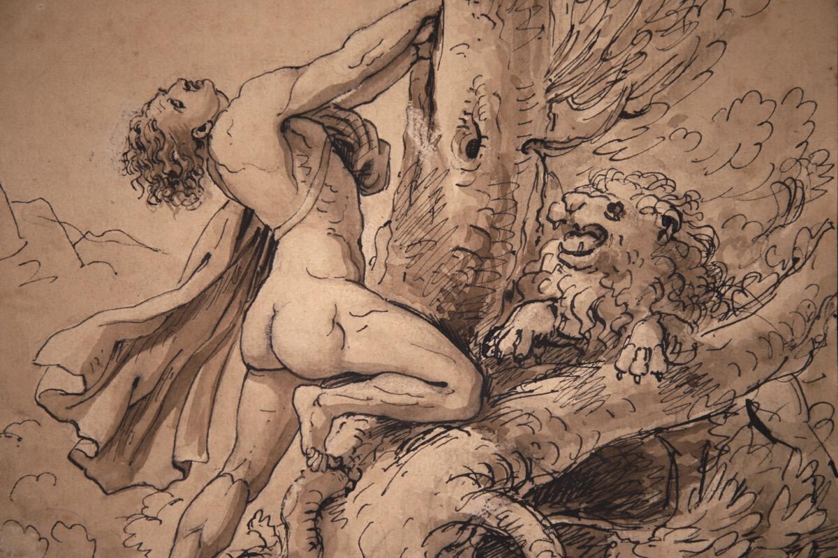 XVII Italian Old Master Drawing of Milo of Croton - Image 8 of 11