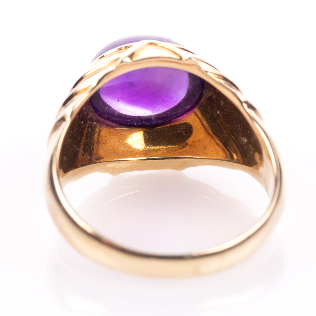 14ct Gold Amethyst Cabochon Ring Egyptian Revival Style - Image 6 of 9
