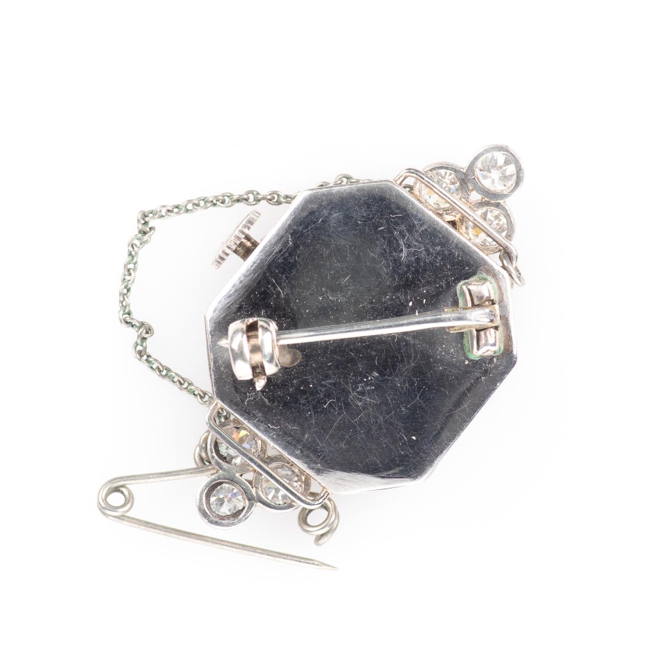 Platinum Art Deco 0.90ct Diamond Watch Brooch - Image 4 of 6