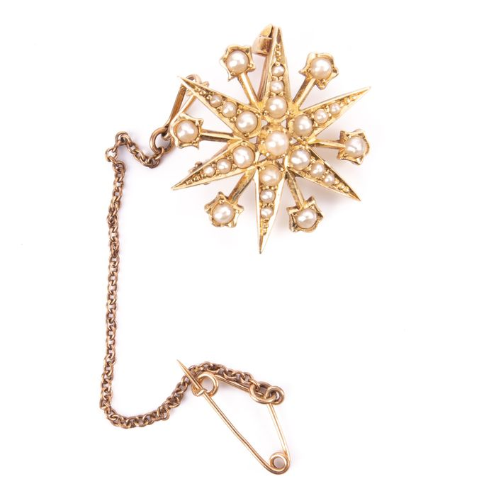 15K Gold Victorian Pearl Starbust Brooch - Image 2 of 6
