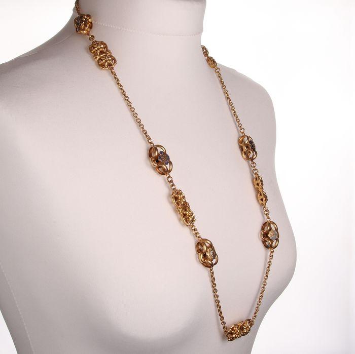 Victorian Gilt Enamel Necklace