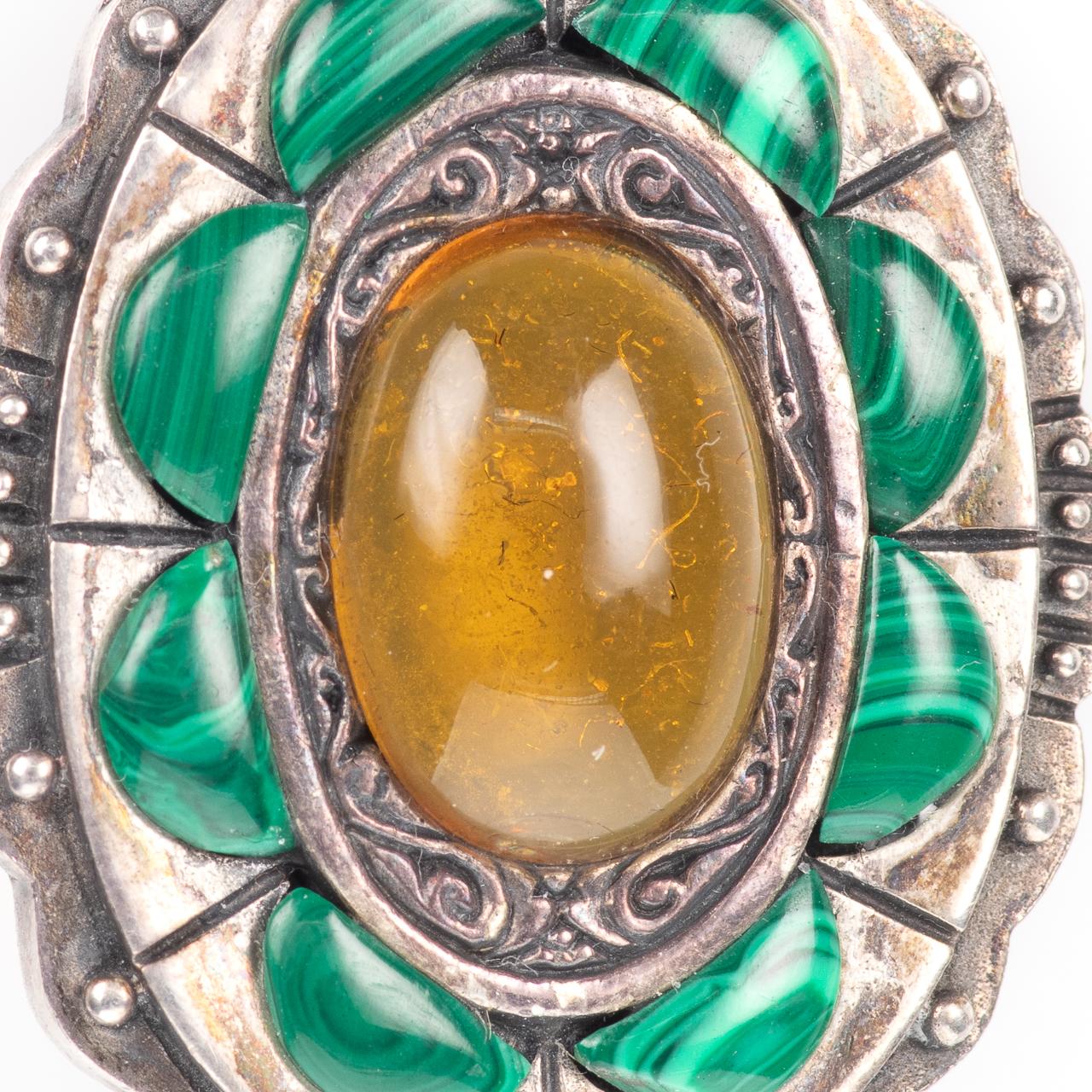 Silver Cairngorm Malachite & Citrine Brooch - Image 3 of 4