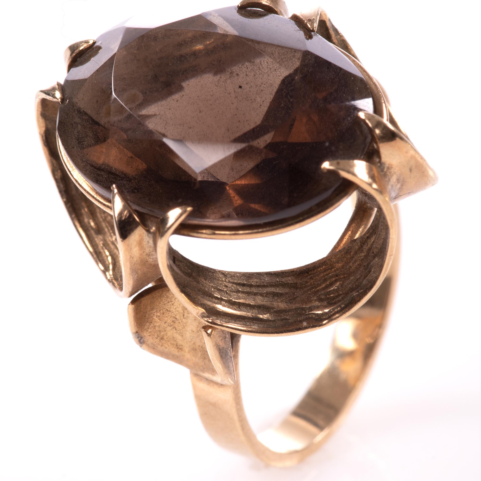 9ct Gold 12.75ct Smoky Quartz Ring