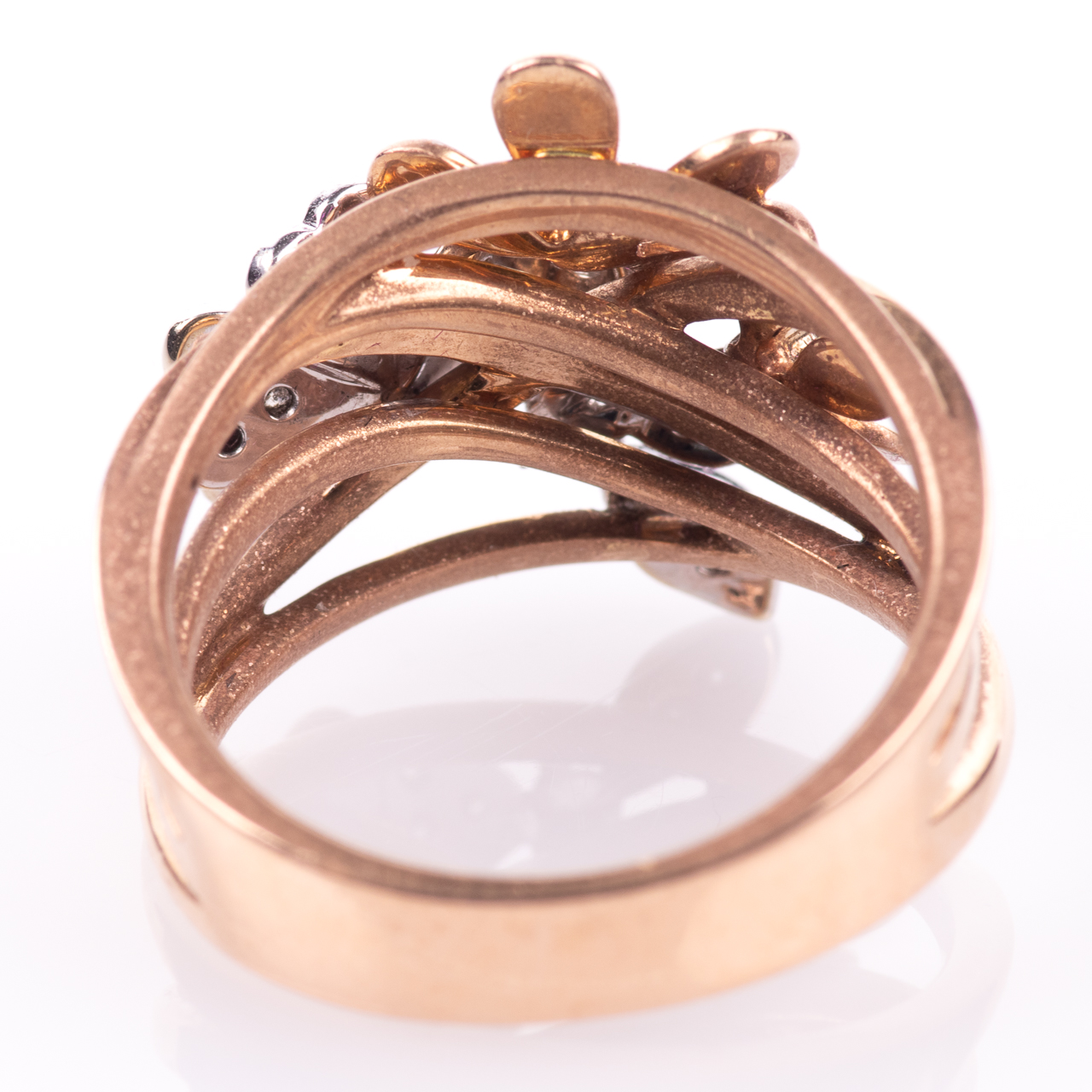 18ct Pink Gold Floral 0.25ct Diamond Ring - Image 6 of 7