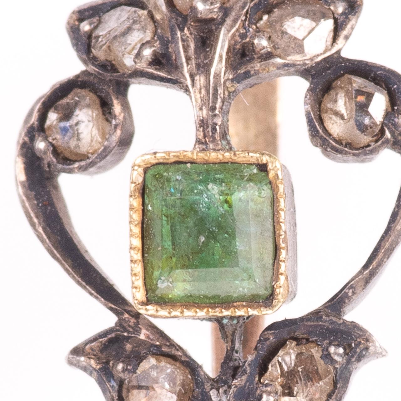 Rose Cut Diamond & Emerald Fleur de Lis Pendant - Image 3 of 6