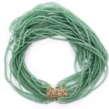 Chinese Gilt Emerald Necklace 220ct