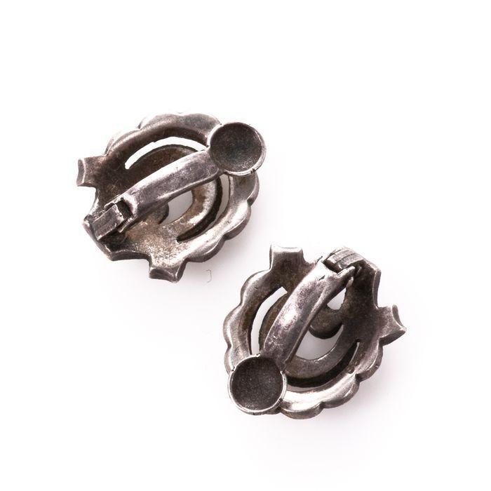 Art Deco Marcassite Silver Earrings - Image 4 of 4