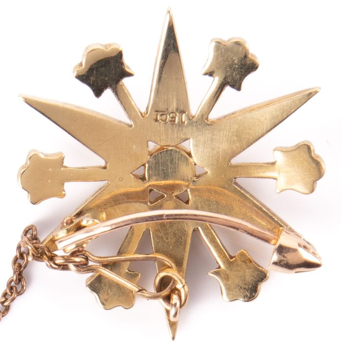 15K Gold Victorian Pearl Starbust Brooch - Image 6 of 6