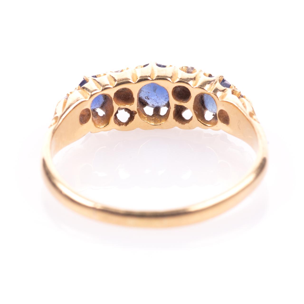 18ct Gold George V 1ct Sapphire & Diamond Ring London 1908 - Image 6 of 7