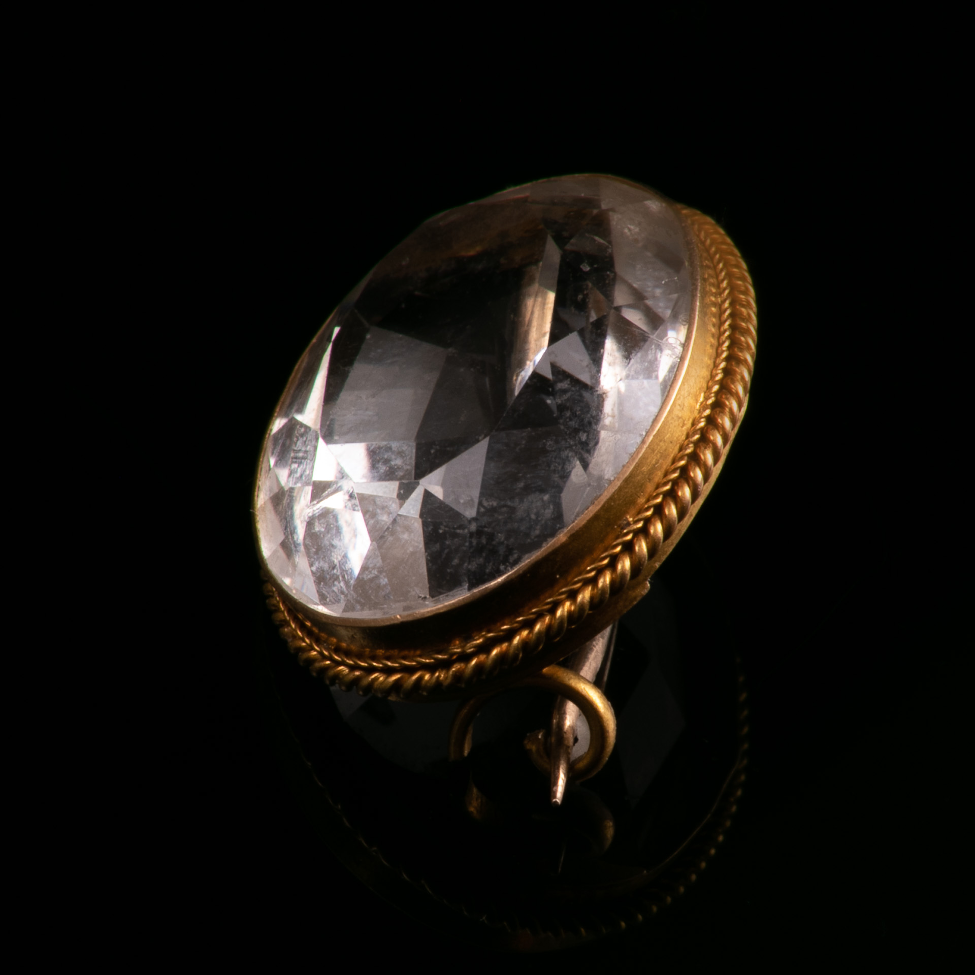 18ct Gold Victorian Faceted Rock Crystal Brooch - Image 2 of 5