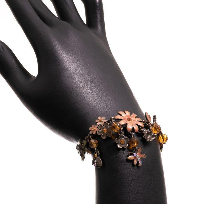 Bronze & Enamel Floral Bracelet - Image 2 of 4