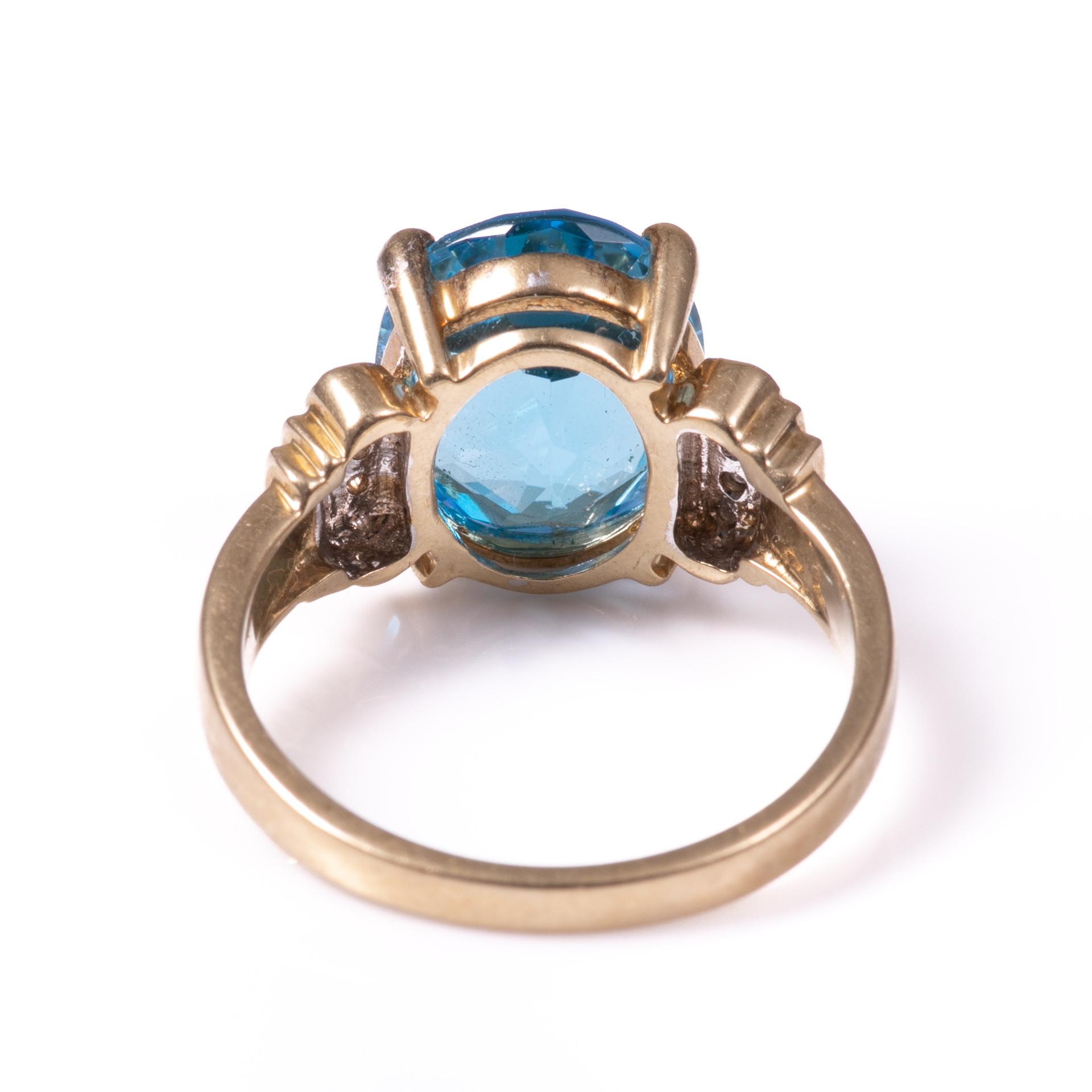 9ct Gold 4.40ct Blue Topaz & Diamond Ring - Image 4 of 6