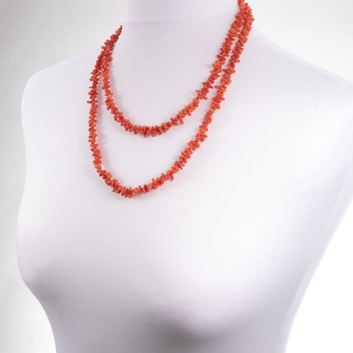 Natural Pink Coral Necklace with Gold Clasp
