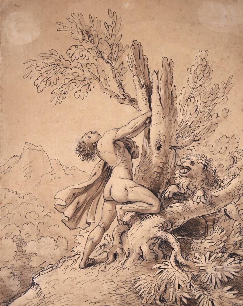 XVII Italian Old Master Drawing of Milo of Croton