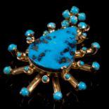 18K Gold Turquoise Pendant