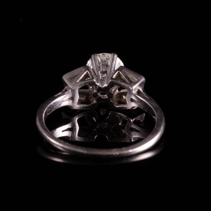 Art Deco Platinum 1ct Diamond Ring - Image 5 of 6