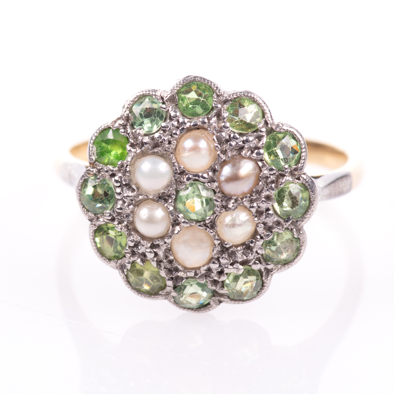 18ct Gold Victorian Peridot & Pearl Cluster Ring