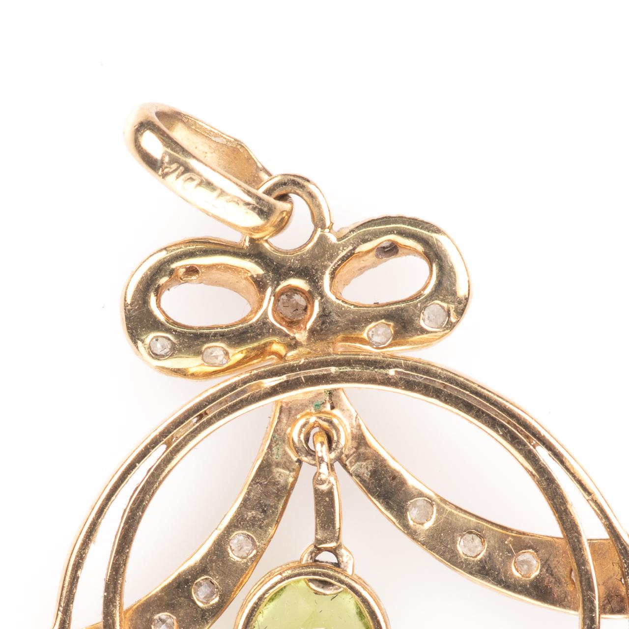 9ct Gold Art Nouveau Peridot & Diamond Pendant - Image 6 of 6