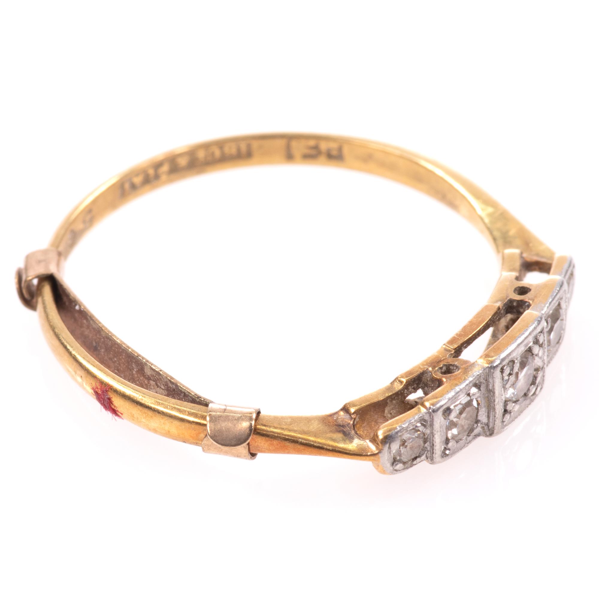 18ct Gold & Platinum Art Deco Diamond Ring - Image 8 of 9