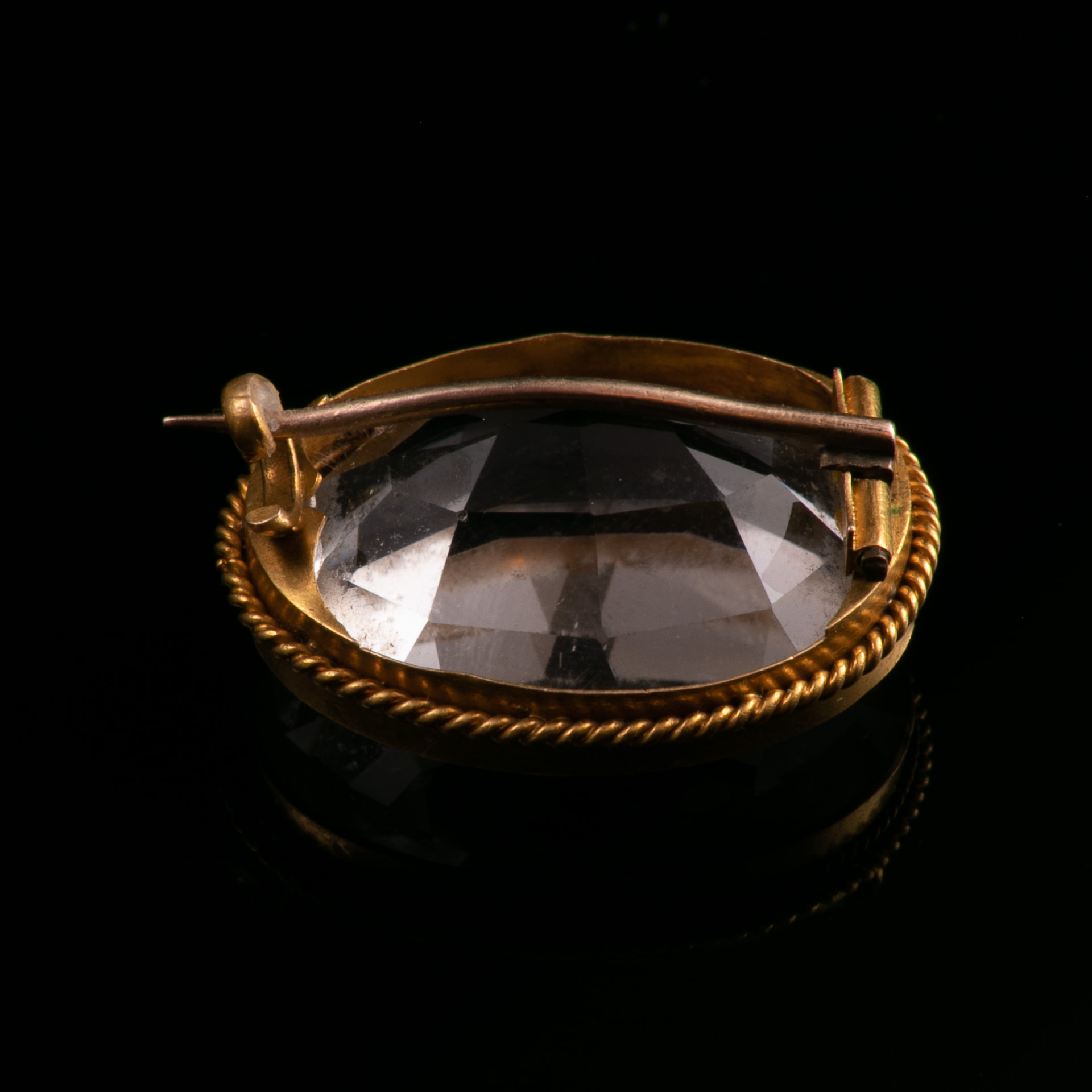 18ct Gold Victorian Faceted Rock Crystal Brooch - Image 5 of 5