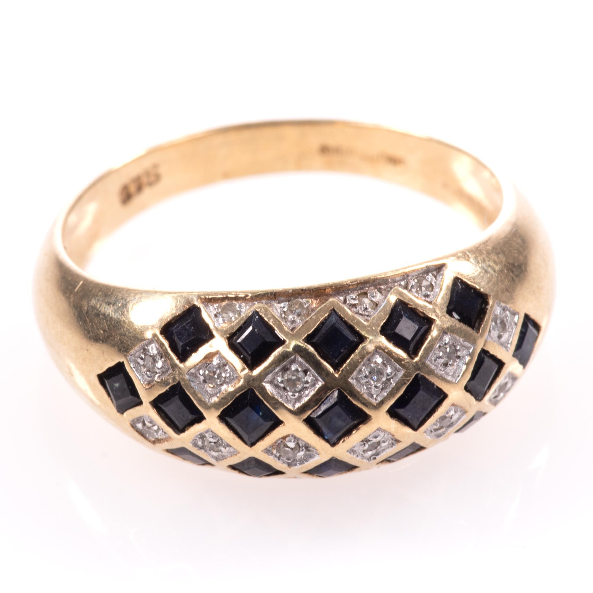 9ct Gold Art Deco Style 0.68ct Sapphire & Diamond Ring - Image 4 of 8