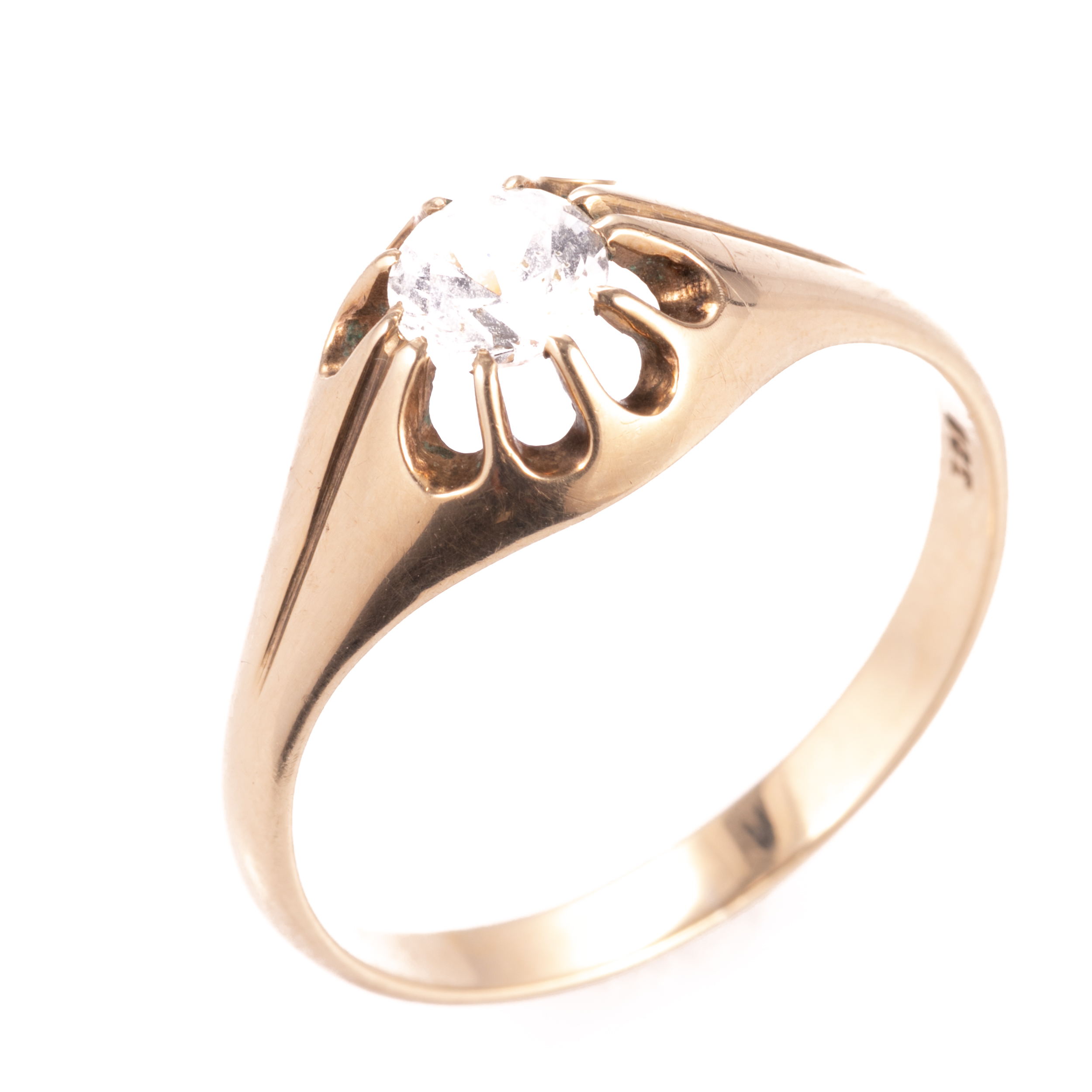9ct Gold Gypsy Paste Solitaire Ring