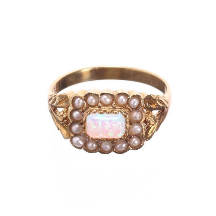 Gilt Opal & Pearl Ring - Image 3 of 6