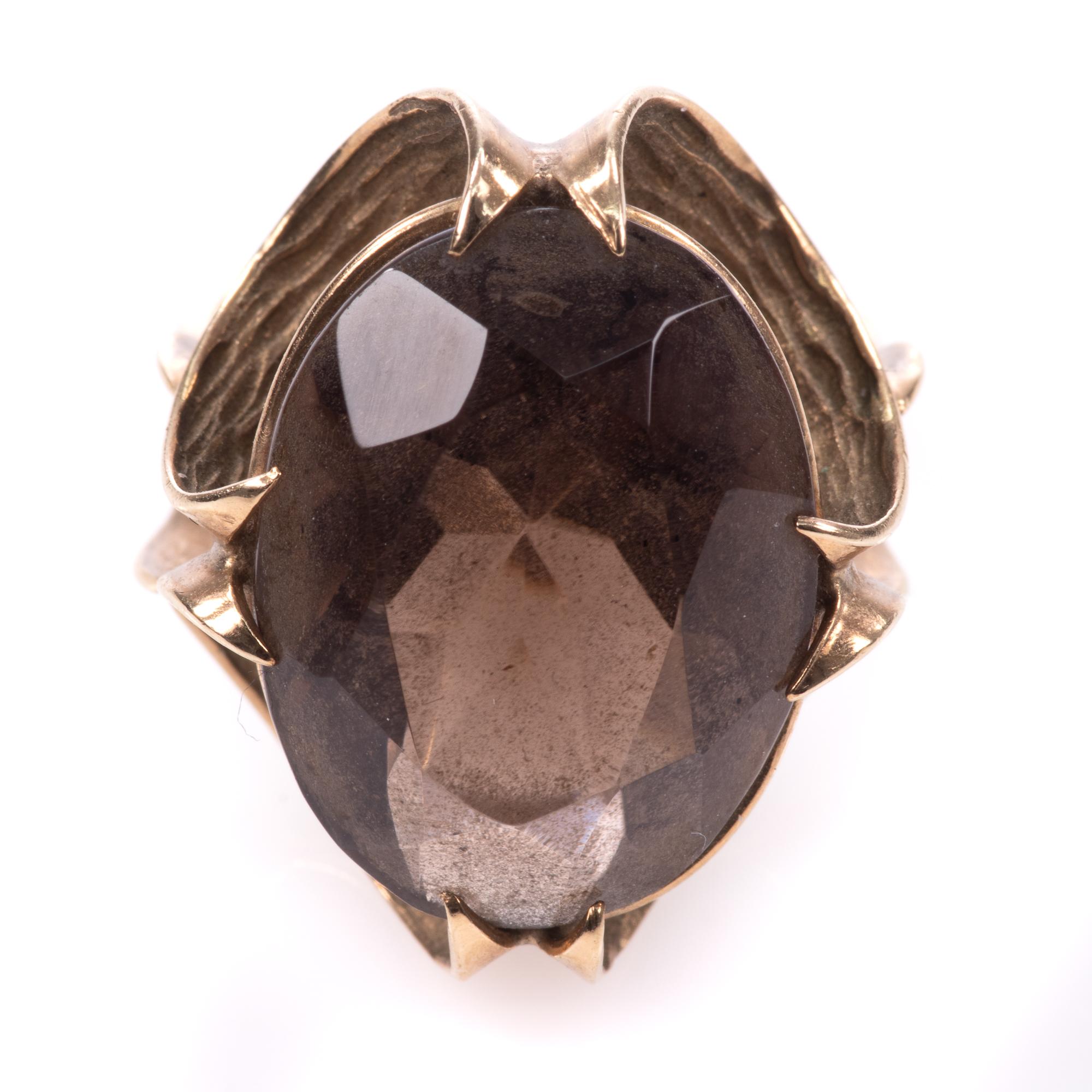 9ct Gold 12.75ct Smoky Quartz Ring - Image 3 of 7