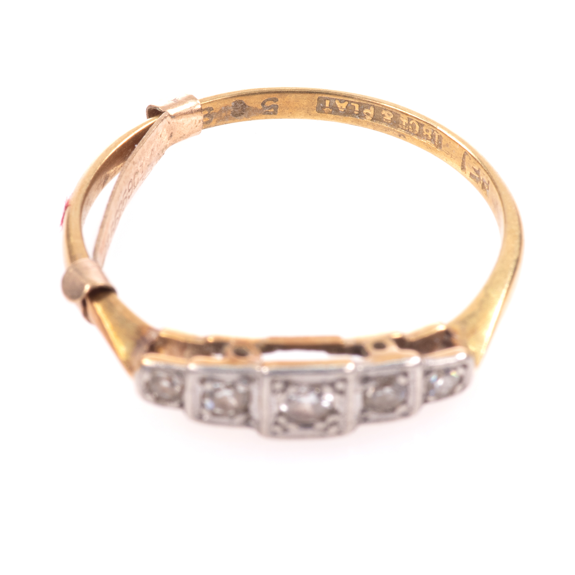 18ct Gold & Platinum Art Deco Diamond Ring - Image 3 of 9