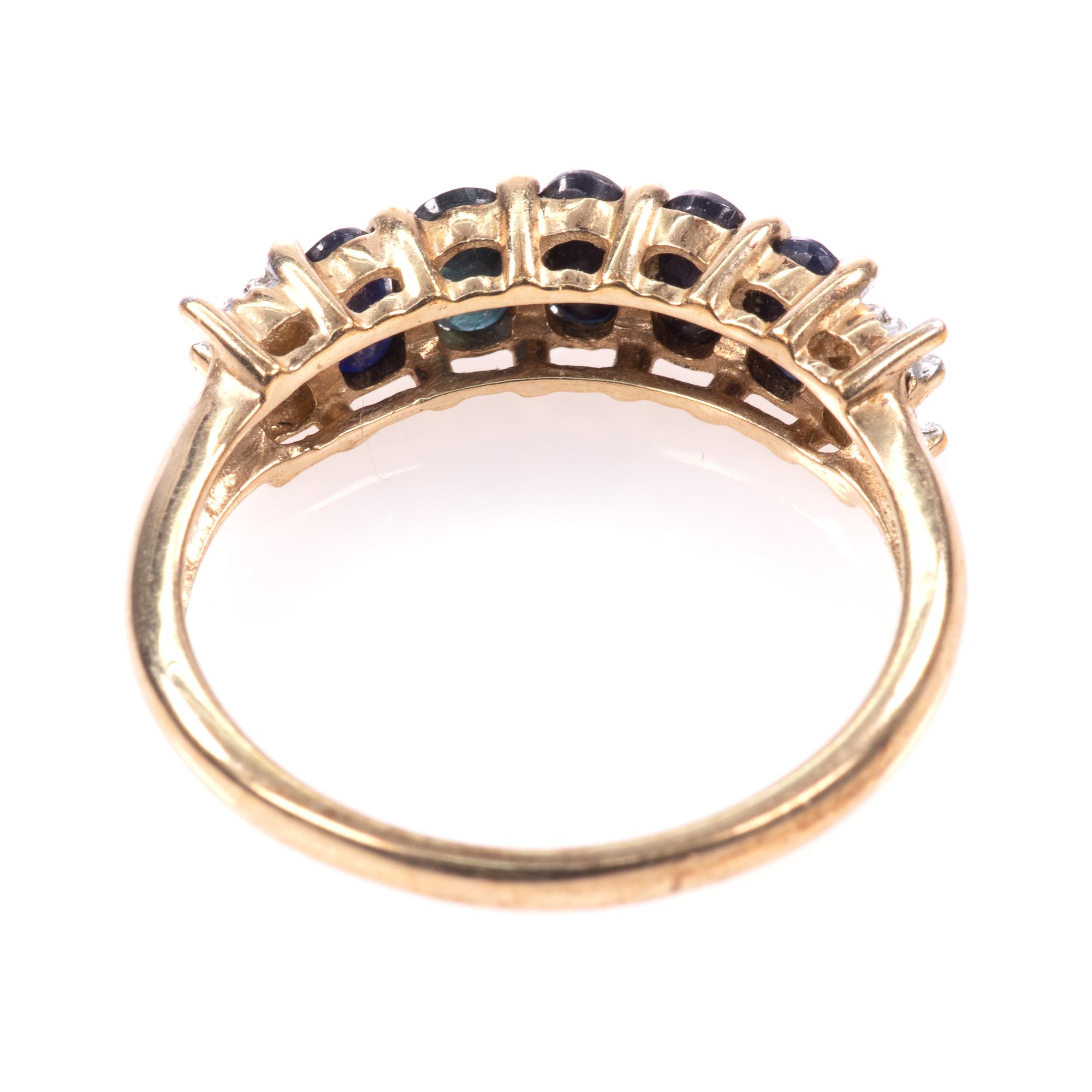 9ct Gold 5ct Sapphire & Diamond Ring - Image 5 of 7