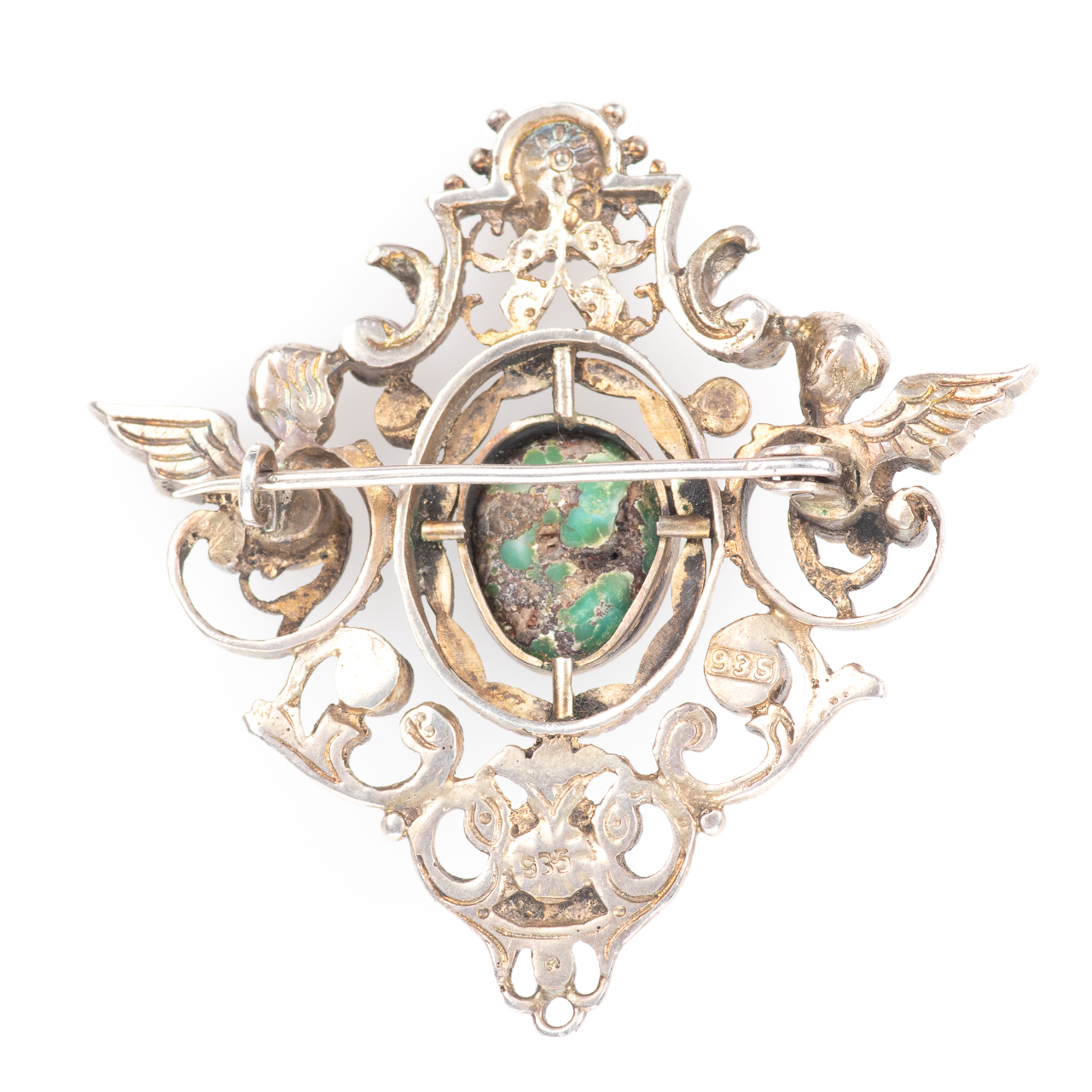 Austro-Hungarian 935 Silver Emerald, Amethyst & Turquoise Brooch - Image 4 of 6