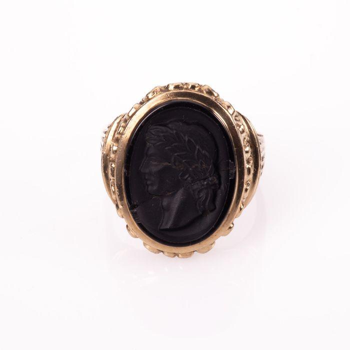9K Gold Hardstone Intaglio Roman Style Ring - Image 3 of 7