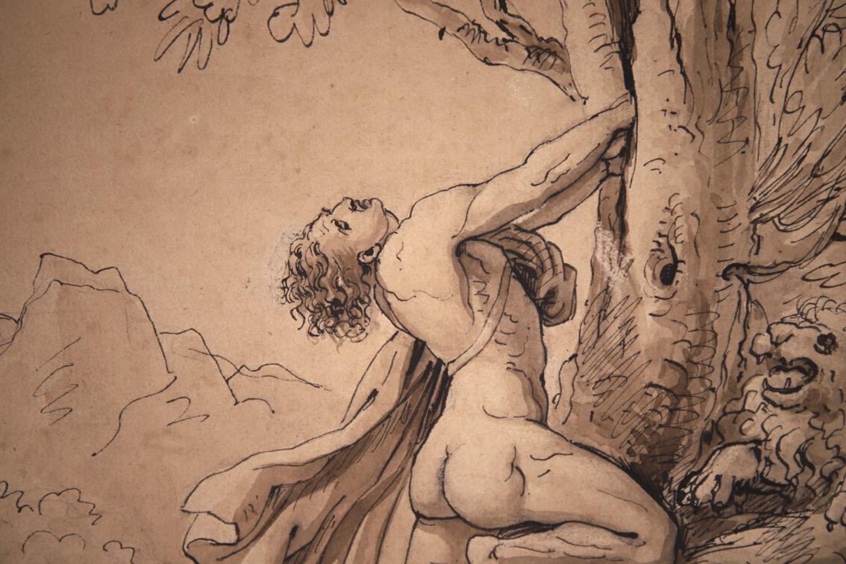 XVII Italian Old Master Drawing of Milo of Croton - Image 10 of 11