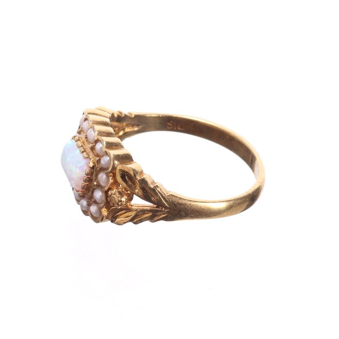 Gilt Opal & Pearl Ring - Image 4 of 6