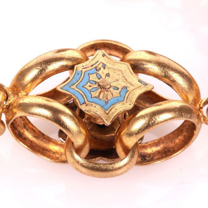 Victorian Gilt Enamel Necklace - Image 5 of 7