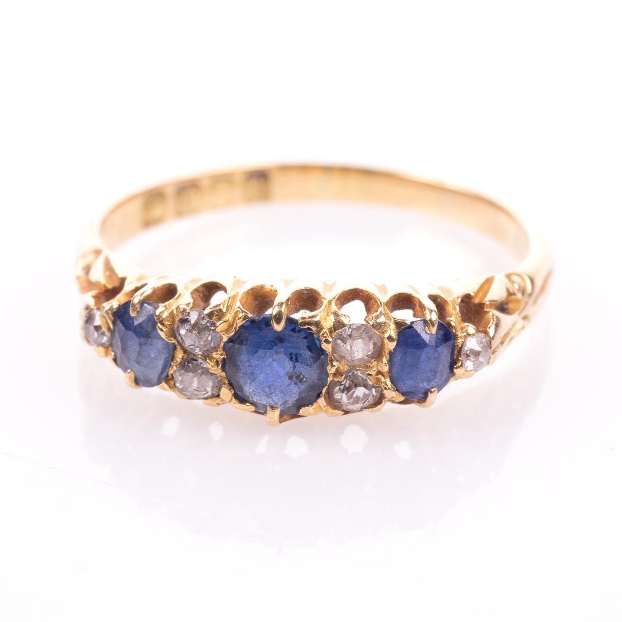 18ct Gold George V 1ct Sapphire & Diamond Ring London 1908 - Image 3 of 7