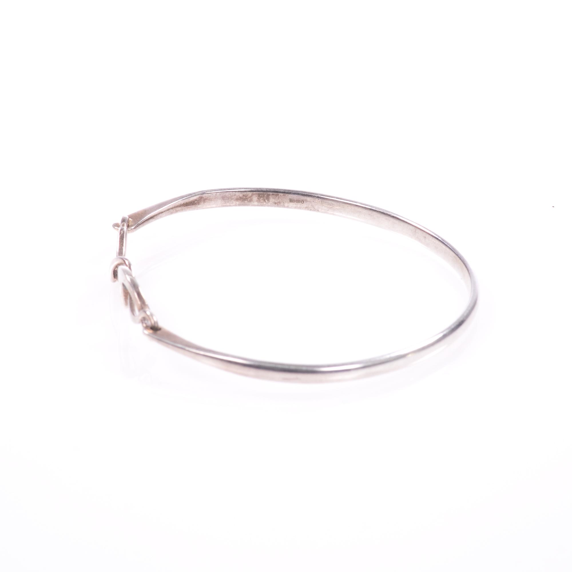 Silver Abstarct Modernist Bangle Bracelet - Image 4 of 9