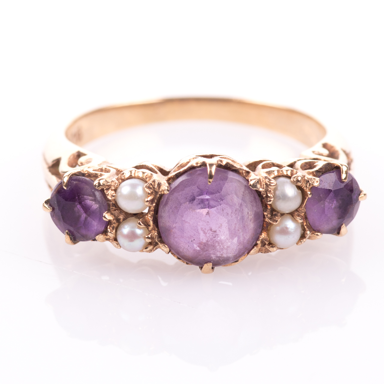 9ct Gold 2.10ct Amethyst & Pearl Ring - Image 3 of 7