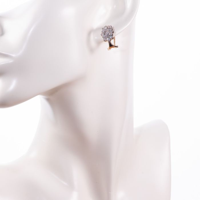 9ct Gold Cluster Earrings - Image 2 of 3