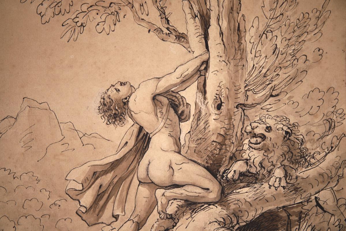 XVII Italian Old Master Drawing of Milo of Croton - Image 2 of 11