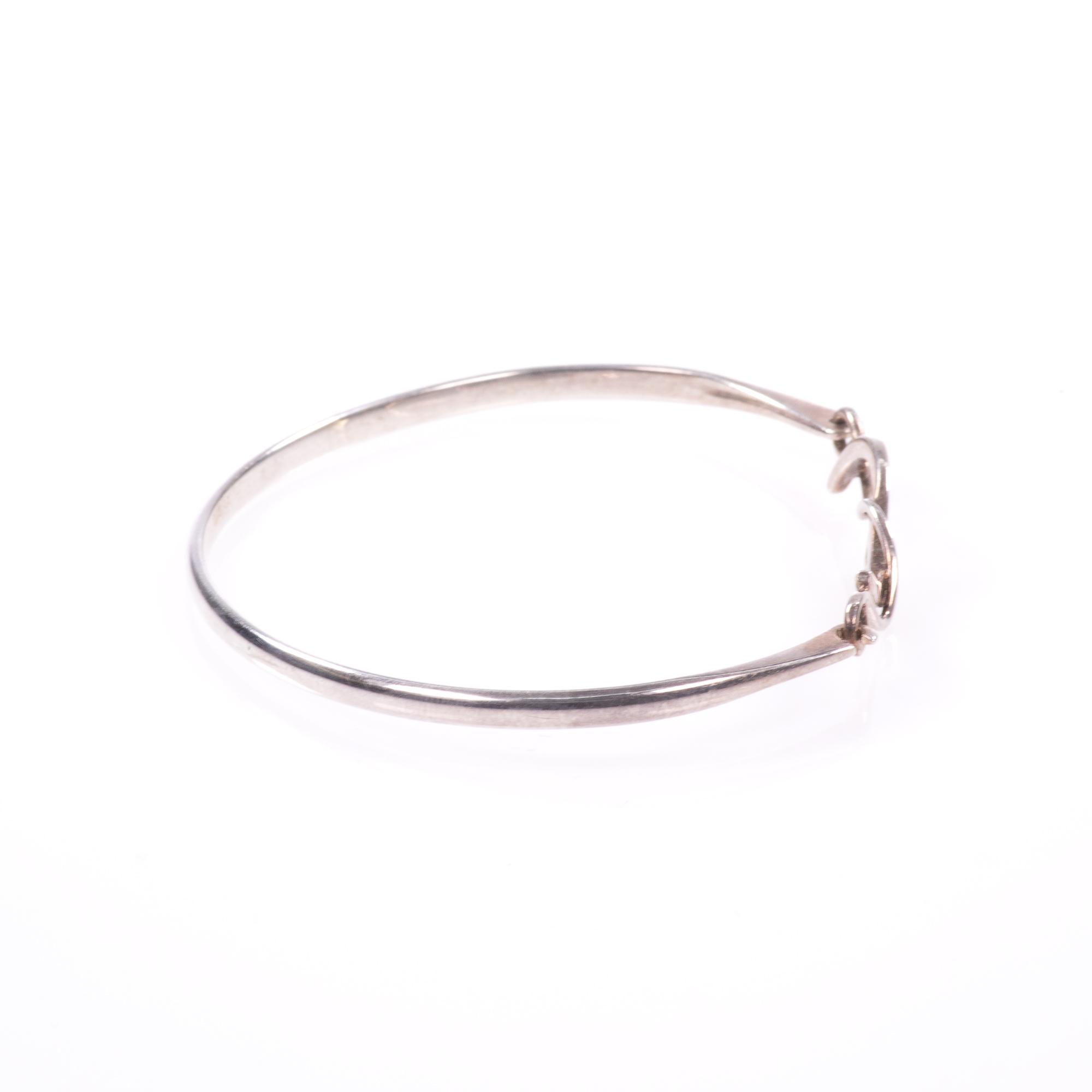 Silver Abstarct Modernist Bangle Bracelet - Image 7 of 9